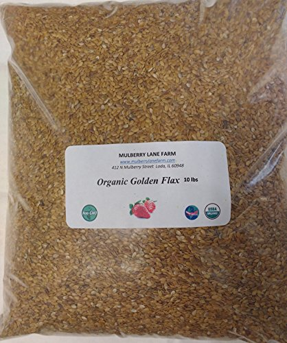 Golden Flax Seed (Flaxseed), 10 lbs (ten pounds) Whole Raw USDA Certified Organic, Non-GMO, BULK. by Mulberry Lane Farms