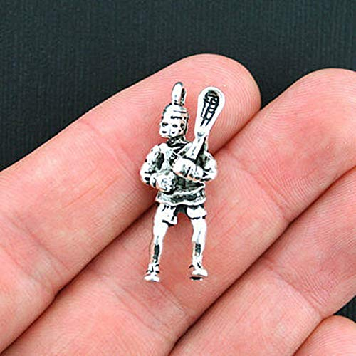 4 Lacrosse Charms Antique Silver Tone 2 Sided Player for Pendant Bracelet DIY Jewelry Making Kit