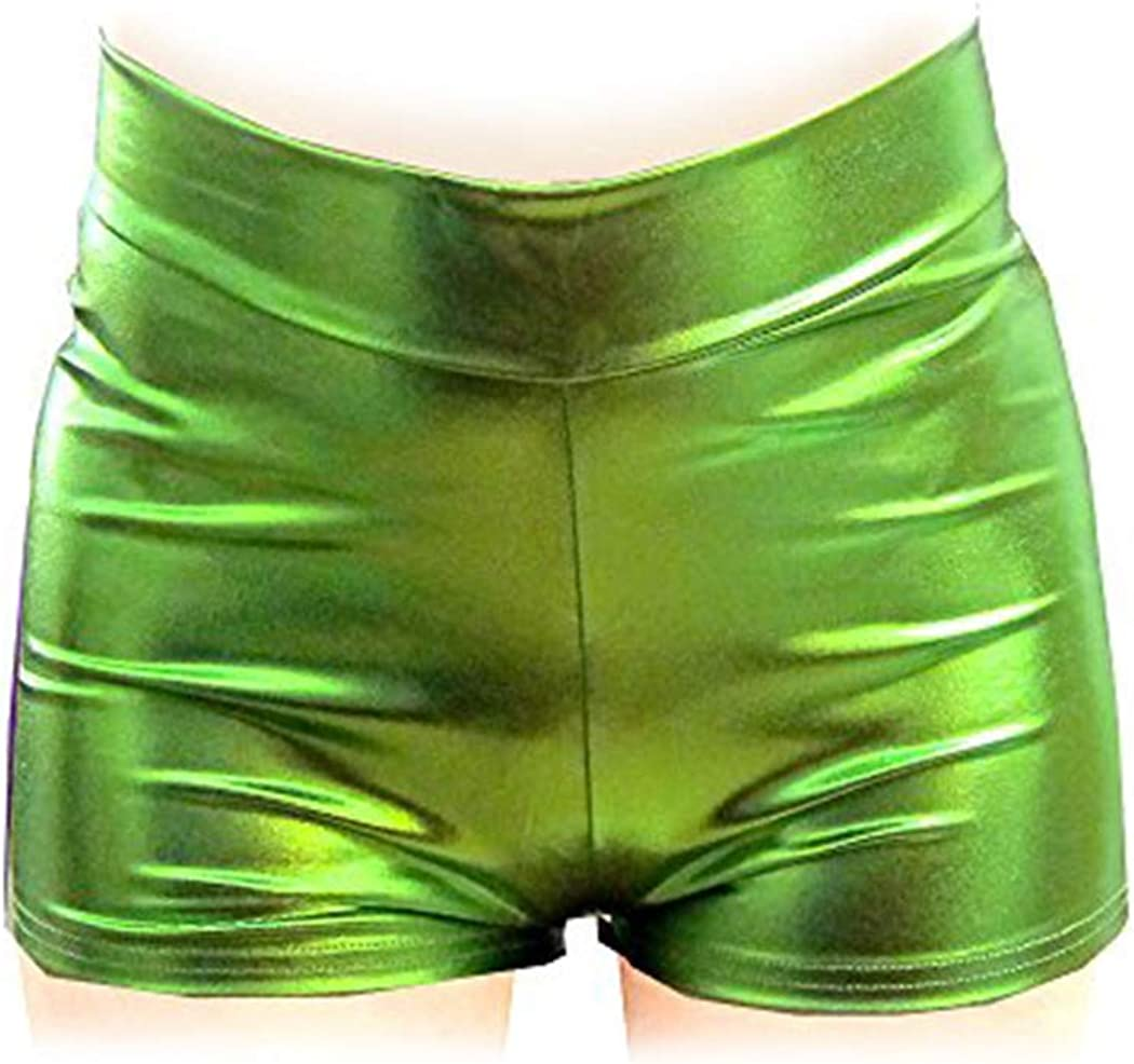 Shiny Stretchy Metallic Mini Shorts Hot Pants Women Girls Boys Men Unisex