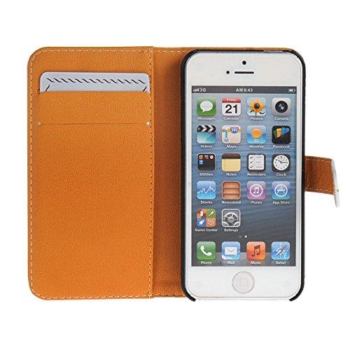 MOONCASE Case für iPhone 5 / 5G / 5S Tasche Flip Leder Schutzhülle Etui Case Cover Hülle Schale / a02
