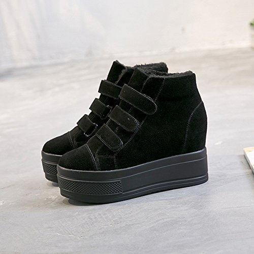 New Boots Thirty Velvet Autumn And Female Thick Plus Velcro Increased Warm Winter Leather KPHY Shoes Matte Casual six With taAqwT