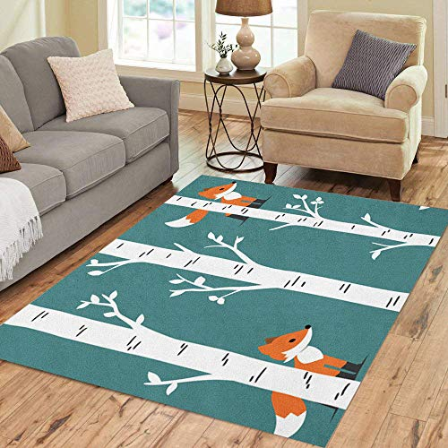 Pinbeam Area Rug Animal Nursery Woodland Baby Room Forest Fox Birch Home Decor Floor Rug 5' x 7' Carpet (Themed Rugs Nature Area)