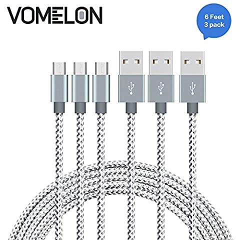 Micro USB Cable, [6FT-3Pack] Nylon Braided High Speed Sync & Charging Cable A Male to Micro B for Samsung, HTC, LG, HP, Sony, Most Android Phones and More-[Grey + (Samsung Android Docking Station)