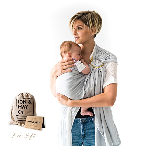 Baby Slings by ION & MAY | Natural Collection | Soft Breathable Lightweight Bamboo Infant Baby Carrier | Baby Shower Gift | Nursing Cover, Cuddle Wrap | With Carry Pouch for Diaper Bag | Portland Grey
