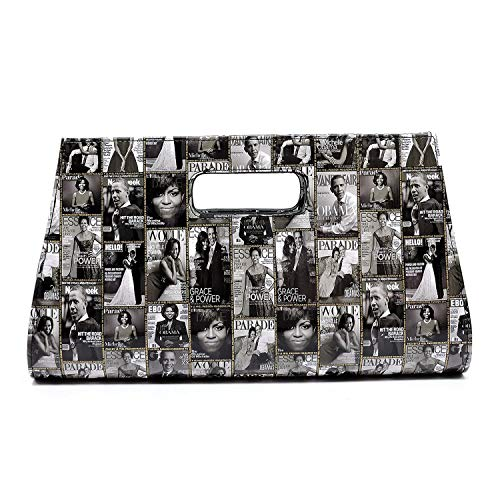 r collage clutch bag purses Michelle Obama bags with chain shoulder strap (GREY) ()