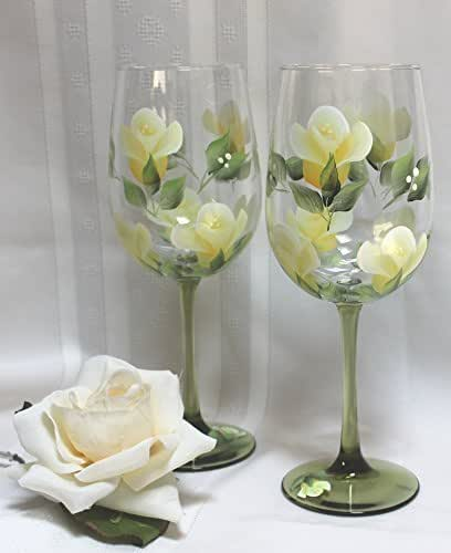 Hand Painted Wine Glasses Yellow Roses On