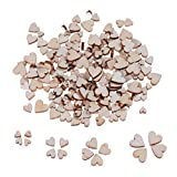 Yiphates 200Pcs Wooden Love Hearts Natural Wood Crafts Decor Rustic Wedding Table Scatter Decoration Children's DIY Crafts