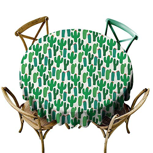 Luunins Round Tablecloth Plaid Exotic,Vibrant San Pedro Cactus Foliage Climate Desert Flourishing Mexican Plants,Forest Green Red D70,for -