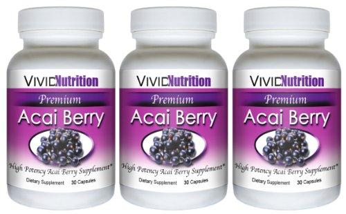 PREMIUM ACAI (3 bouteilles) - Haute Puissance, Pure Acai Berry supplément. Le régime entièrement naturel, perte de poids, Colon Cleanse, Detox, produit Superfood antioxydant.
