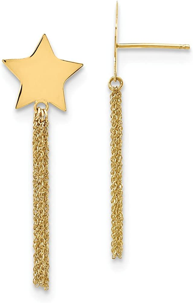 Mia Diamonds 14k Yellow Gold Polished Star with Chain Necklace Tassle Post Earrings