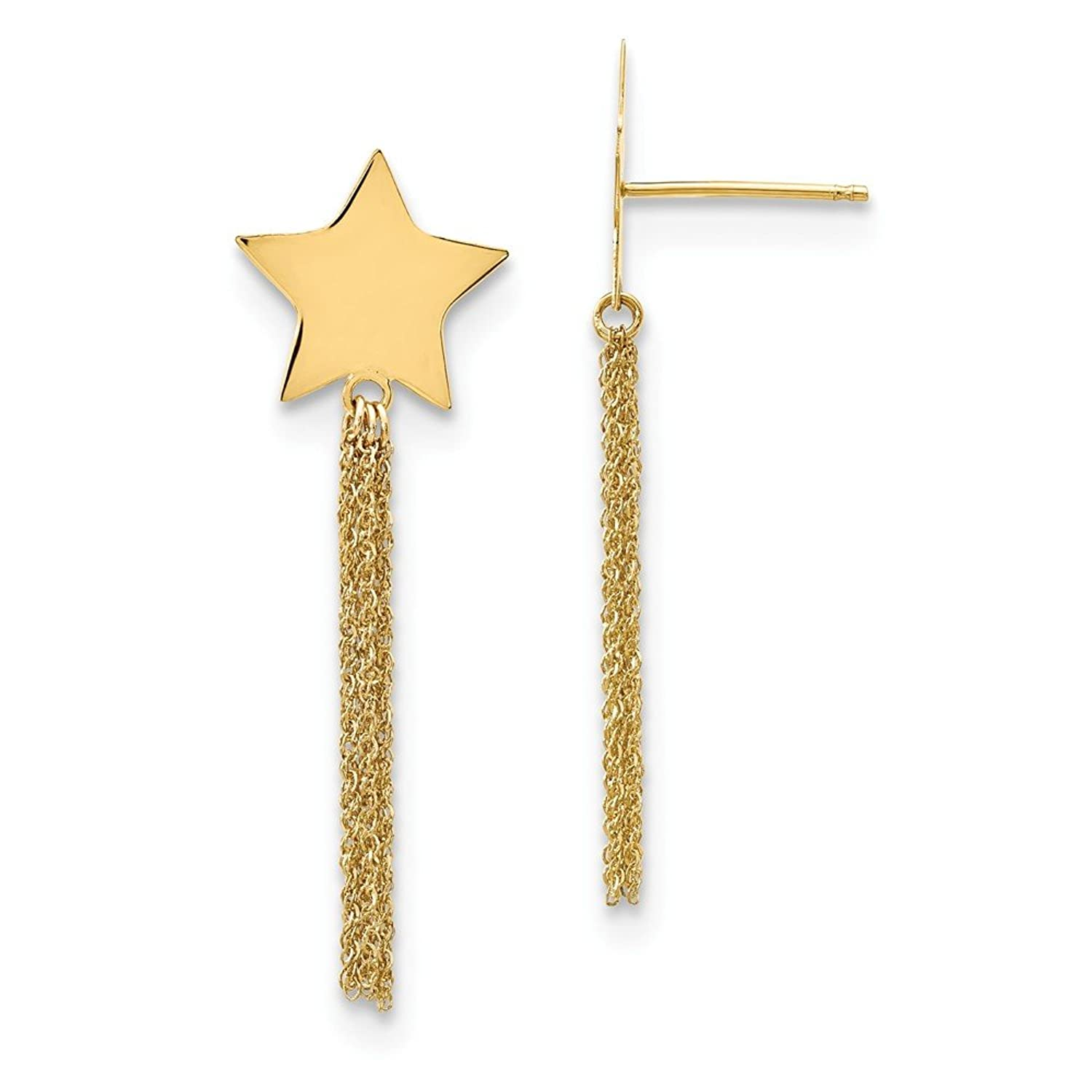 Genuine 14k Yellow Gold Polished Star w/Chain Necklace Tassle Post Earrings 39 mm
