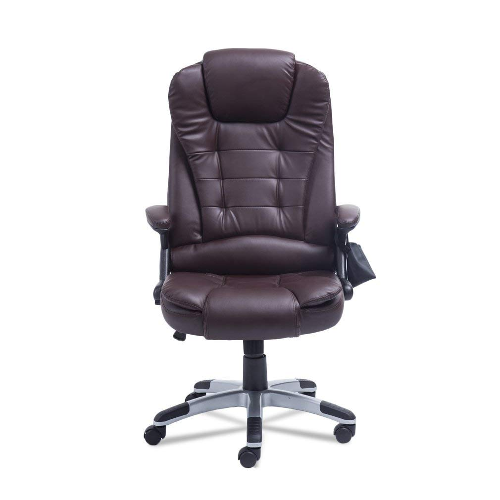 Simoner Office Massage Chair, Upgraded 7 Point Heating Gaming Massage Chair, High-Back PU Leather Computer Desk Chair- Ergonomic Executive Chair w/360 Degree Adjustable Height & Armrest (Brown)