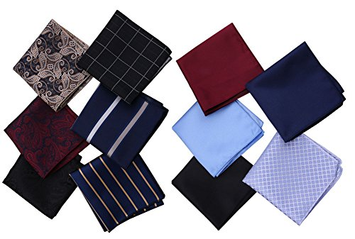 Driew Men's Pocket Square Retro Pattern Handkerchief 11 Pics/Set (Retro Squares Pattern)