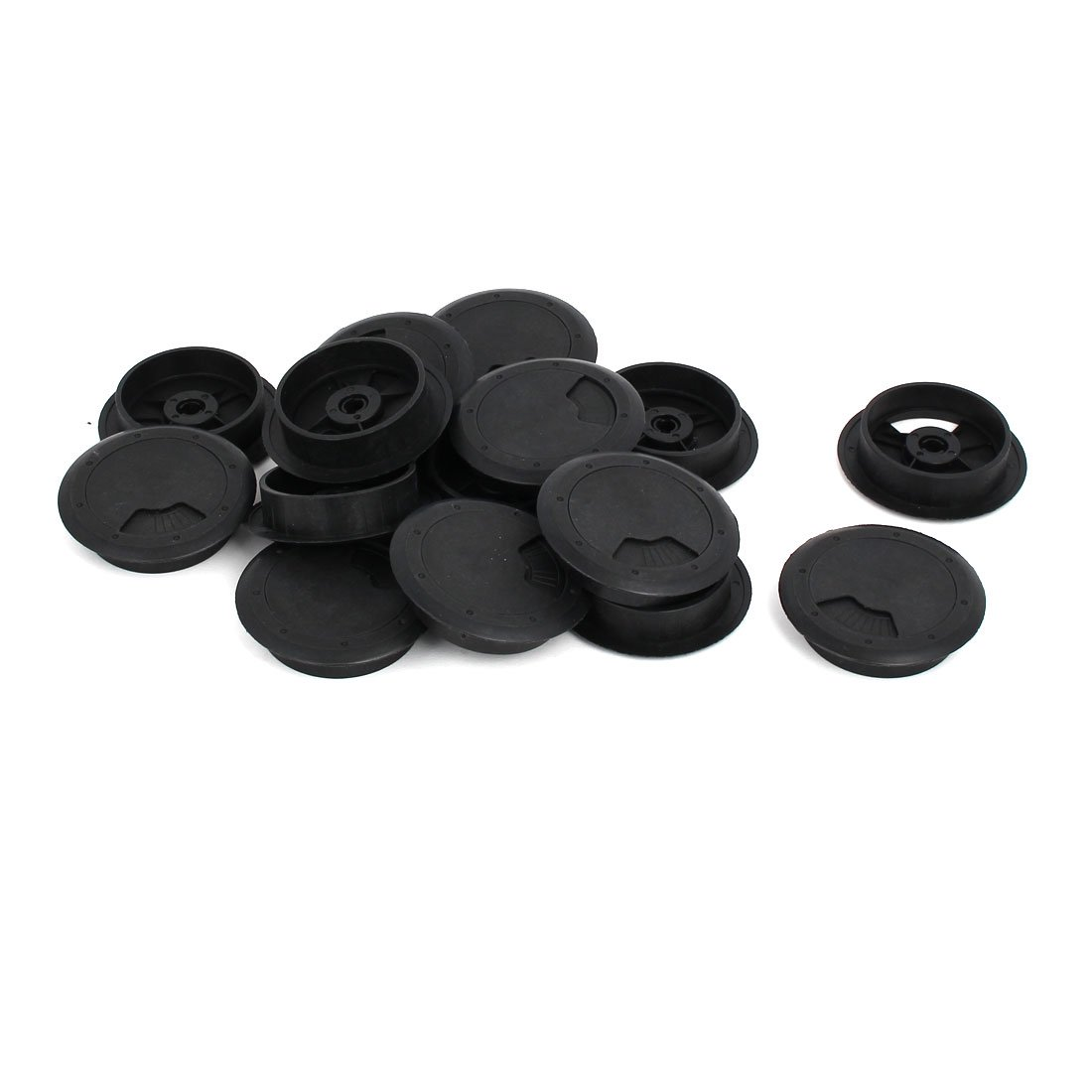 uxcell Computer Desk 60mm Dia Adjustable Grommet Plastic Wire Cable Hole Covers Black 15pcs