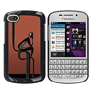 Caucho caso de Shell duro de la cubierta de accesorios de protección BY RAYDREAMMM - BlackBerry Q10 - Abstract Black Man