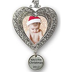 Baby's First Christmas - Ornament for Newborn - Silver Filigree Heart Shaped Photo Ornament - Baby Ornaments