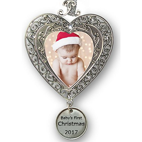 Baby's First Christmas - 2017 Ornament for Newborn - Silver Filigree Heart Shaped Photo Ornament - Baby Ornaments