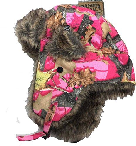 Dakota Womens Cap (Dakota Dan Trooper Ear Flap Cap w/ Faux Fur Lining Hat Pink Camo)