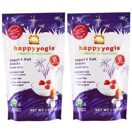 Happy Yogis Organic Yogurt Snacks for Babies and Toddlers, Mixed Berry, 1-Ounce Pouches (Pack of 2) (Happymelts Organic Yogurt Snacks)