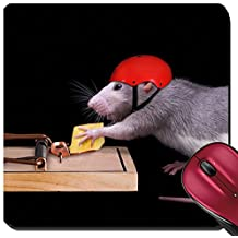 Liili Suqare Mousepad 8x8 Inch Mouse Pads/Mat A rat is trying to steal a piece of cheese that is bait in a rat trap She is wearing a helmet on to protect her IMAGE ID 8576161