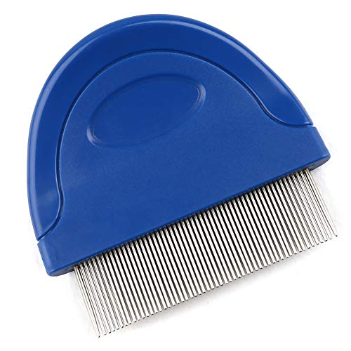 Cat Flea Comb, Tear Stain Remover, Metal Lice & Nit Removable Comb Clean Egg, Stainless Steel Teeth with Plastic Handle for Removing Flea Egg, Mites, Ticks Dandruff Flakes, Crust, Mucus, and Stains