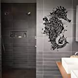 ik1894 Wall Decal Sticker seahorse steampunk bathroom living room