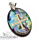 Jerusalem Cross Abalone Shell Pendant Pearl Golden Cross Holy Land Amulet 1.2