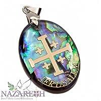 Jerusalem Cross Abalone Shell Pendant Pearl Golden Cross Holy Land Amulet 1.2