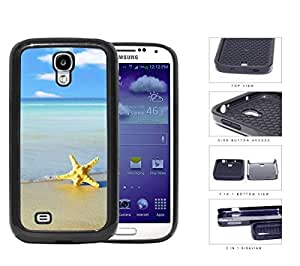 Beautiful Blue Ocean Beach with Starfish in Sand 2-Piece High Impact Dual Layer Black Silicone Cell Phone Case Samsung Galaxy S4 I9500 by lolosakes