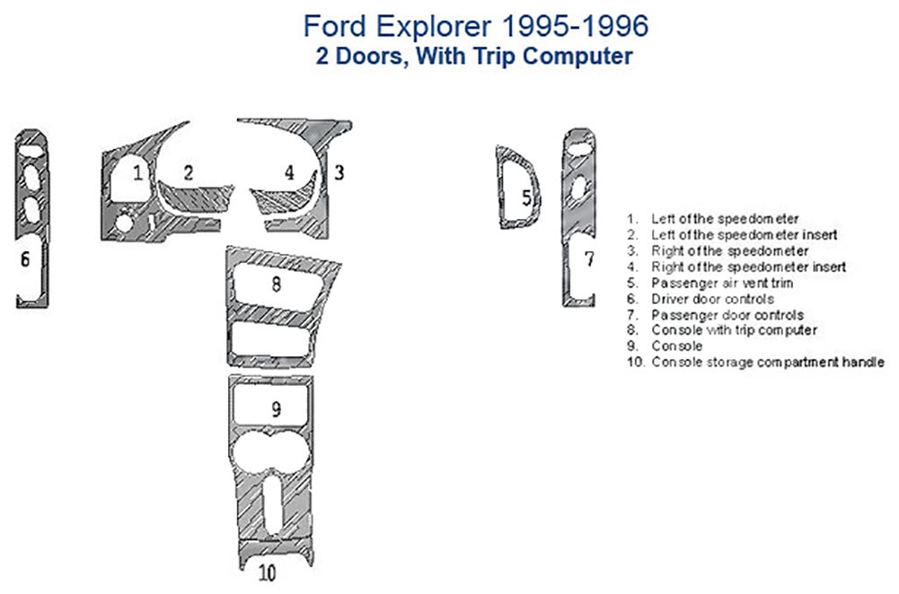 Ford Explorer Dash Trim Kit, 2 Doors, With and Without Trip Computer - Oxford Burlwood