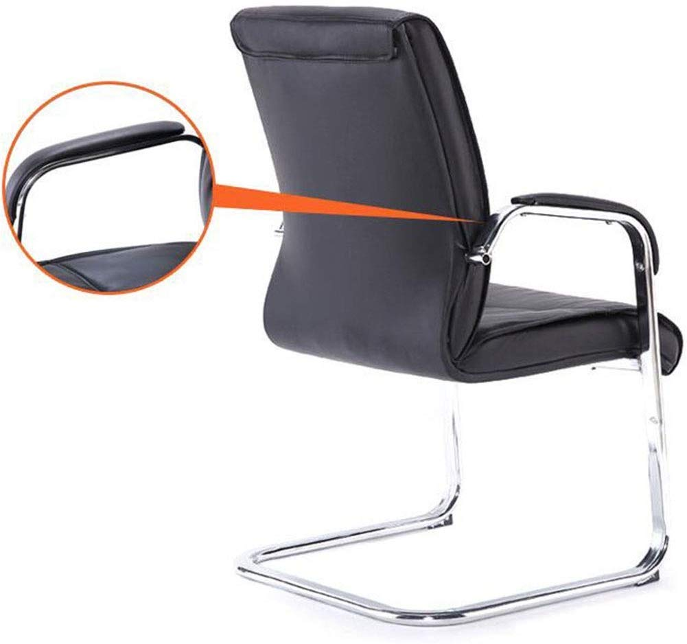 DBL Fäststruktur modernt utseende bra ventilation konferensstol bord kontor miljö mottagningsrum PU + stål + svamp skrivbordsstolar (färg: svart) Svart
