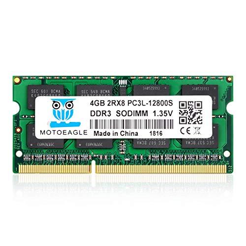 4GB DDR3 Ram DDR3L-1600 SODIMM PC3L-12800S, Motoeagle Dual Rank 1.35V 204-pin 2Rx8 DDR3L SODIMM 1600mhz for Laptop