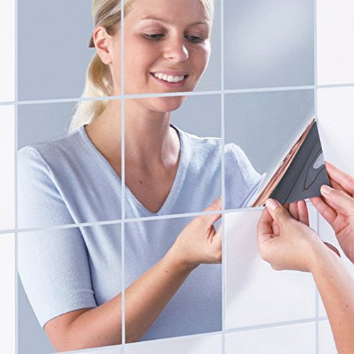color mogu Acrylic Mirror Tiles Sheet Adhesive Wall Mirror Flexible Self Adhesive Non Glass Mirror,12 by 12 Inch,4 Pieces (Mirror 12 Square)