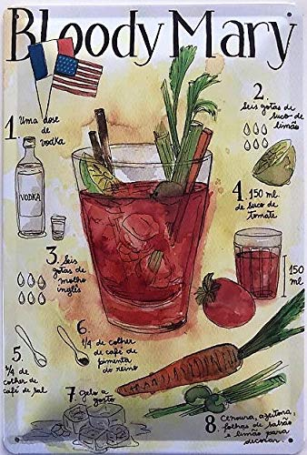 Deko 7 Bloody Mary - Cartel de Chapa (30 x 20 cm), diseño de ...