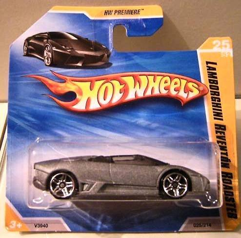 (Hot Wheels 2010, Lamborghini Reventon Roadster 025/214, HW Premiere Short Card, 1:64 Scale.)