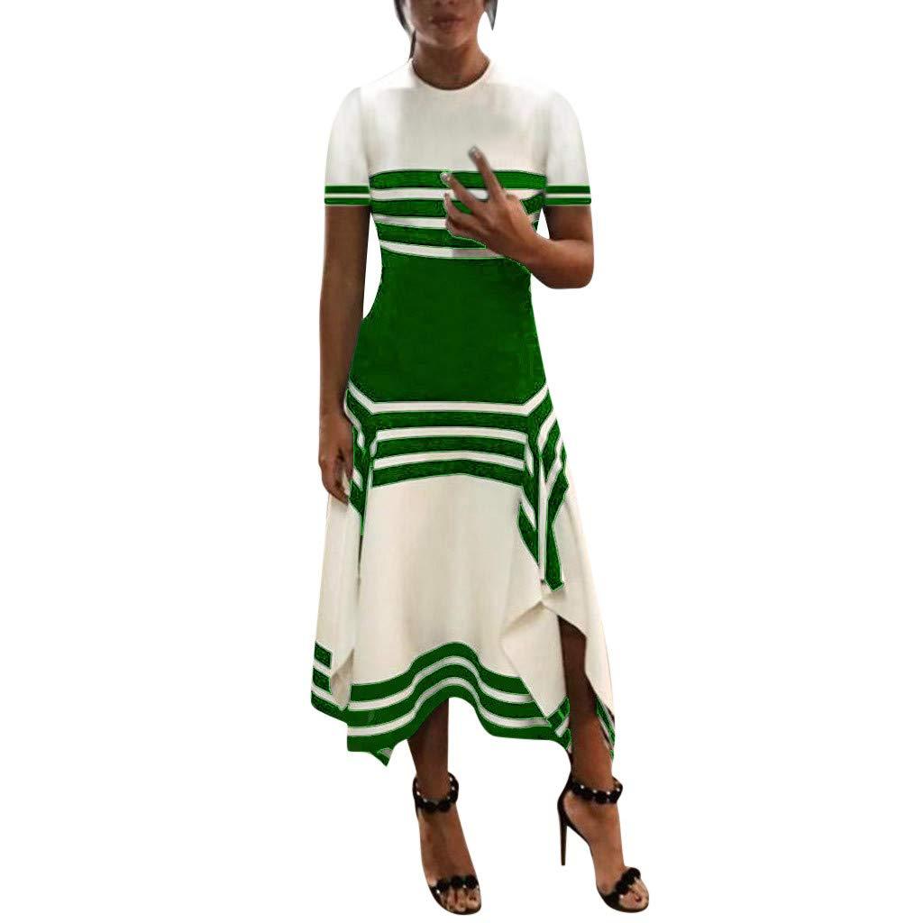 Damen /Ärmelloses Kleid Rundhalsausschnitt Vestido Midi Party Kleider Lose Sommer Basic Tank Kleid Clubdress Abendkleid formell Iregular Saum Pullover Tunika Kleid Gr mounter gr/ün Medium