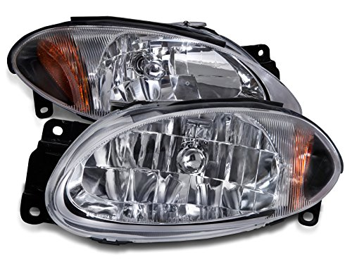 PERDE Replacement for Ford Escort ZX2 Chrome With Performance Lens Headlamps Driver Passenger Set Headlights Pair