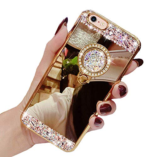 Black Lemon Case for iPhone 7 Plus / 8 Plus, Luxury Crystal Rhinestone Soft Rubber Bumper Bling Diamond Glitter Mirror Makeup Case with Ring Stand Holder (Gold)