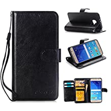Samsung Galaxy S6 Wallet Flip Case,DLFcase [Stand Feature] Premium Protective PU Leather Flip Cover w/ Card Slot Side Pocket Magnetic for Galaxy S6 (Black)
