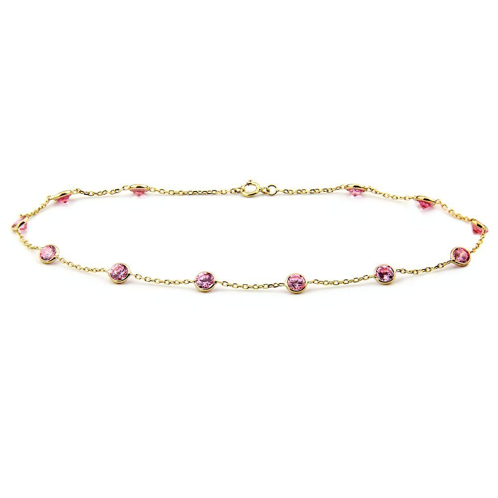 14k Yellow Gold Anklet Bracelet With 4mm Pink Round Shaped Cubic Zirconia (9 - 11 Inches)