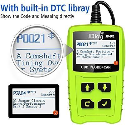 OBD2 Code Reader Car Scanner Diagnostic Tool JDIAG JD101 Engine Fault Code  Reader Check Engine Light Clear Fault Codes EOBD Vehicles with Battery