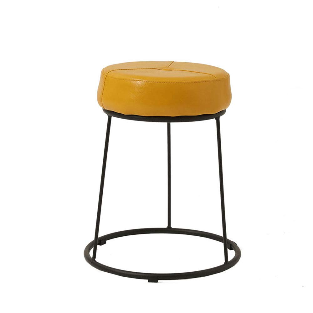 YellowBlack Large Wrought Iron Frame Stool PU Cushion colorful Choice High Resilience Sponge Restaurant Living Room Bedroom Dressing Table Stool (color   GreenWhite, Size   L)