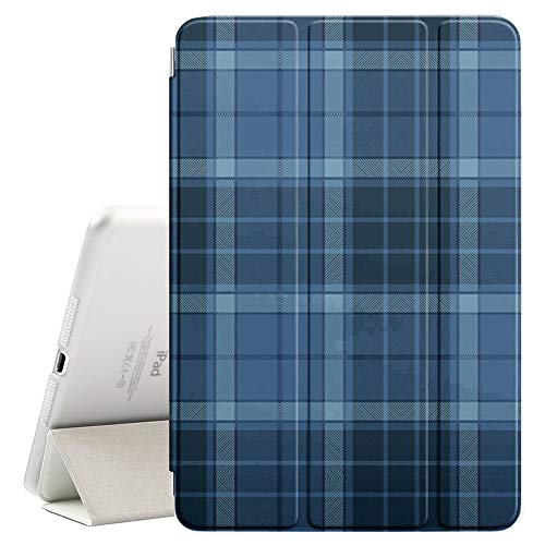 Compatible with Apple iPad 9.7-inch (2017 & 2018) - Leather Smart Cover + Hard Back Case with Sleep/Wake Function (Blue Tartan Plaid Design)