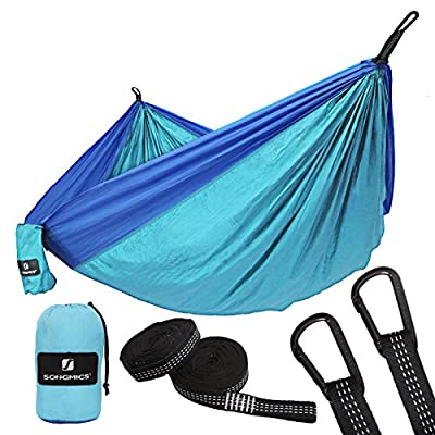 SONGMICS Portable Double Hammock, Lightweight Nylon Hammock, Load Capacity 660lbs, Anti-fade Passed TÜV Rheinland Test, for Outdoor Camping, Hiking, Traveling, Beach, Yard