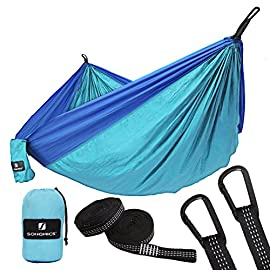 Skonzig Single Skonzig International Lightweight Deluxe Portable Parachute Nylon Include Heavy-Duty Carabiners /& Tree Straps Double Camping Hammock