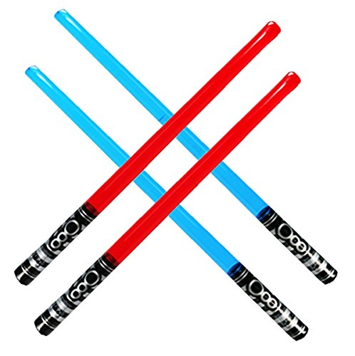 4 Inflatable (Pack of 4 Inflatable Light Saber Sword Toys - 2 Red and 2 Blue lightsabers - pool, beach, party favors, larp)