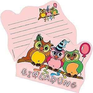 6 tarjetas de invitación * Felicitaciones Búhos * DE FIESTA ...