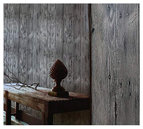 "Blooming Wall Barnwood Wood Panel Wood Plank Wallpaper Wall Mural For Livingroom Kitchen Bathroom Bedroom,20.8"" x 374"", Multicolor (Dark Gray)"