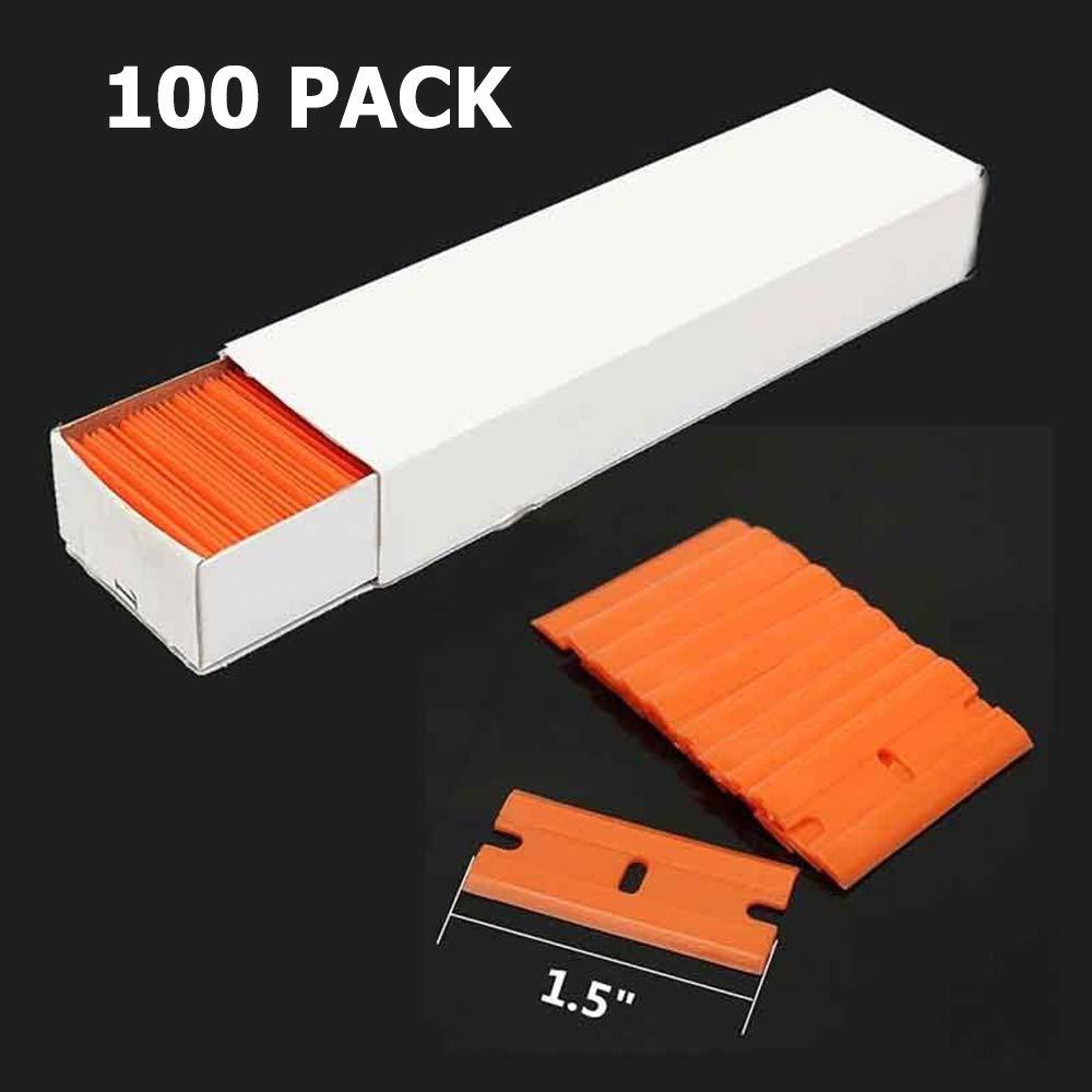 Laicky 2 Pack Razor Blade Scrapers +100 Pack Plastic Blades ...
