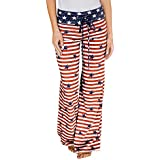 ZOMUSA 2017 HOT Sale Women American Flag Drawstring Wide Leg Pants